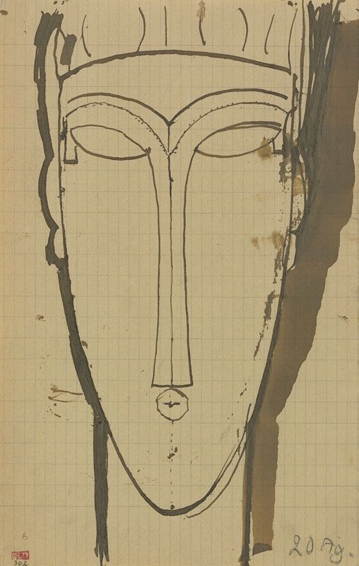 """Amadeo Modigliani's study for """"Head with Fringe and Earrings."""" Love the obvious African art influences."""