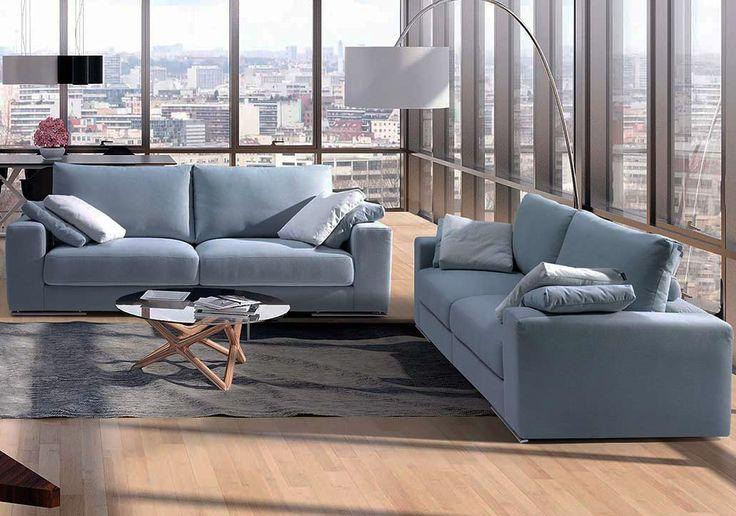 Sofá moderno de 3+2 plazas y con chaise-longue, modelo Apolo fabricado en España por Divani Star en Sofassinfin.es