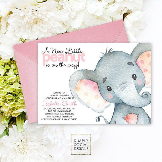 Pink Elephant Baby Shower Invitation - It's a Girl Watercolor Elephant Modern Baby Shower Pink and Grey Little Peanut Printable