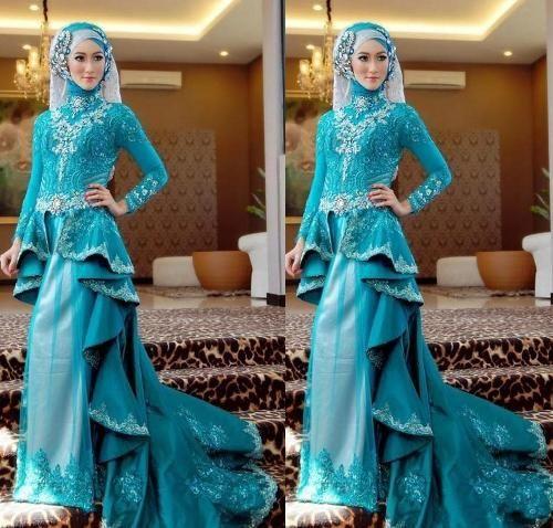 busana pengantin muslimah biru-1