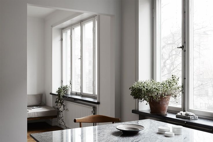 Add balance to white with plants & terracotta