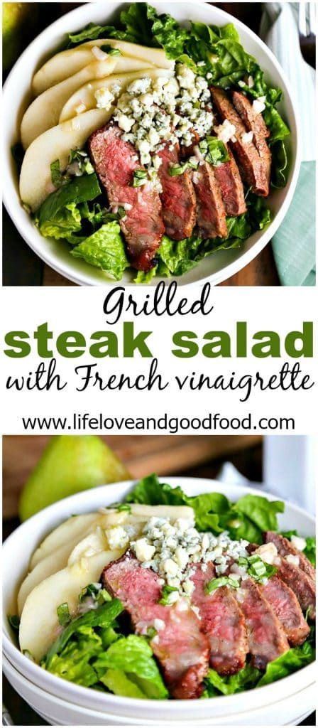 Grilled Steak Salad with French Vinaigrette | Life, Love, and Good Food #healthy #dinner #recipe