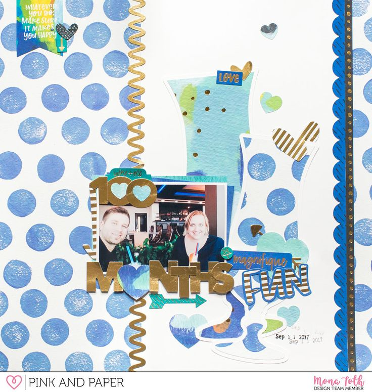 100 Months 12x12 scrapbook layour made with Bella Blvd Make Your Mark collection by Mona Tóth.