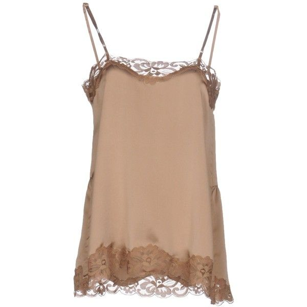 Gold Hawk Top ($160) ❤ liked on Polyvore featuring tops, camel, camel top, beige top, lace top, beige lace top and lacy tops