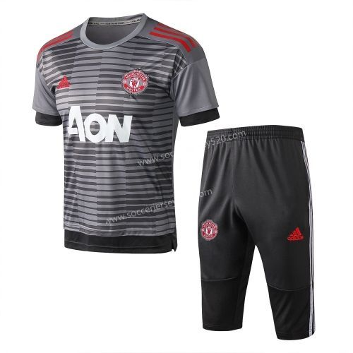 new style c6d32 fbe1a 2018-19 Manchester United Light Gray Short-sleeved Thailand ...