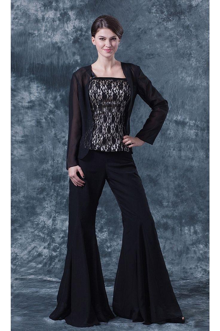 Zweiteilig Schwarz Chiffon Brautmutterkleider Spitze Mit Jacke $324.99 Brautmutterkleider Lang