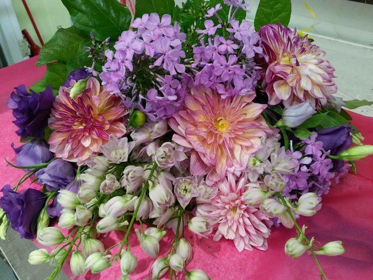 Bouquet from Poppies  #dahlias #phlox #delphinium #lisianthus #bouquet #speadjoy www.twitter.com/poppiestoronto www.facebook.com/poppiestoronto