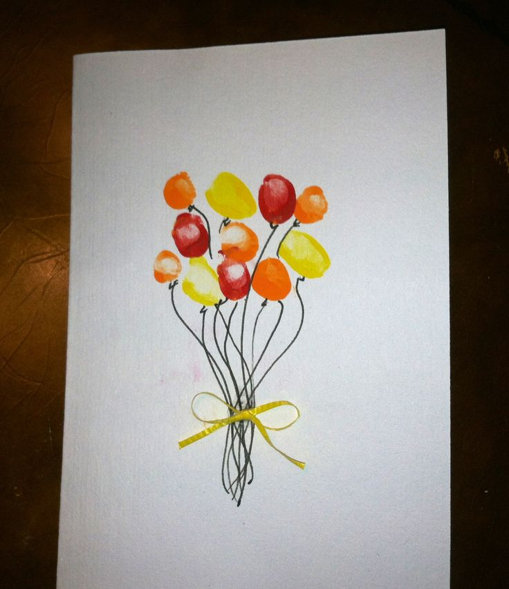Easy to make birthday (or any day) card from little one's finger prints!