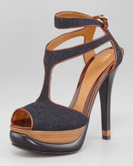 X1BCT Fendi Felt-Leather Halter Strap Platform Sandal