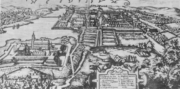 Nieśwież i zamek Radziwiłłów, grawerowanie z XVII w.