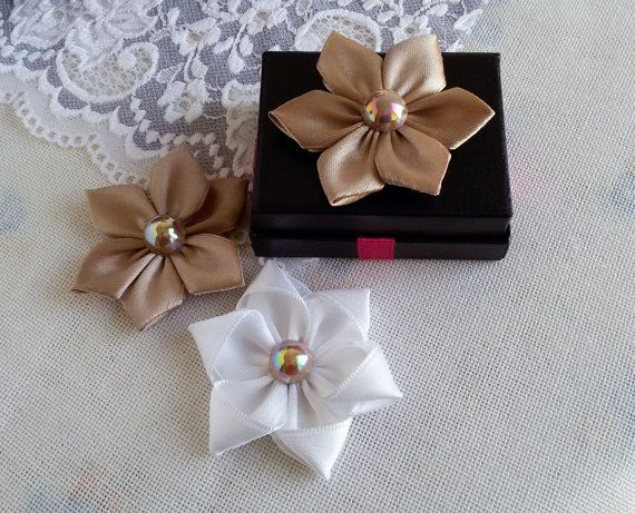 3 satin ribbon flowers golden fabric flowers ribbon by Rocreanique on Etsy