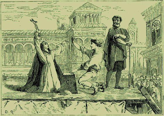 Sainte Catherine de Sienne (1347 - 1380)réconfortant un jeune chevalier condamné par la haine populaire de Sienne.