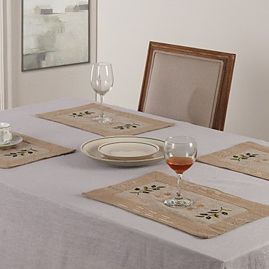 """11""""X17"""" Modern Style Linen and Poly Olive Placemats – USD $ 3.99"""