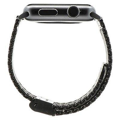 Monowear Black Mesh Band + Dark Gray Mate Elegant Adapter 38mm, Adult Unisex, Black Gray