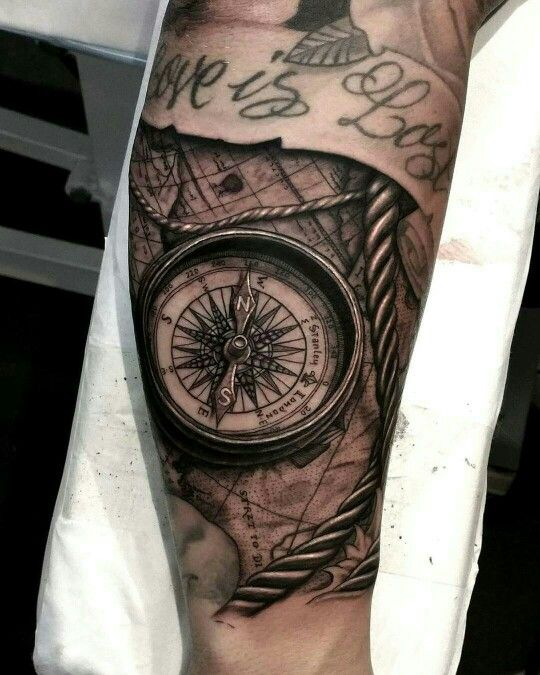 Grey wash Map and Compass Tattoo by @leigh_tattoo