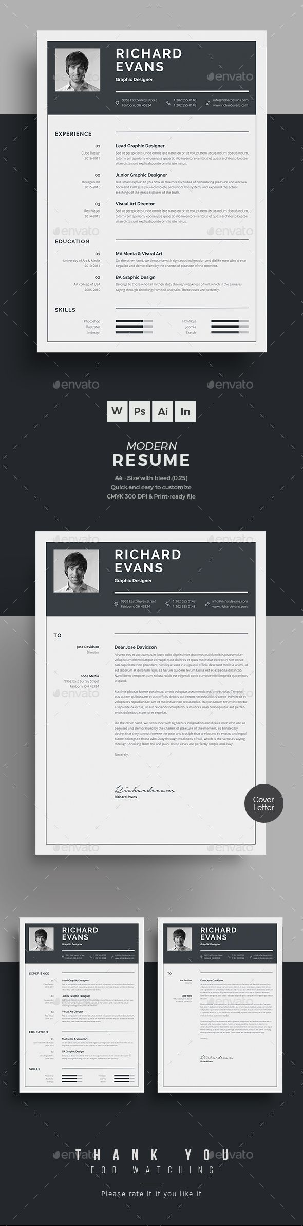Resume by upra Resume Word Template / CV Template with super clean and modern look. Clean Resume Template page designs are easy to use and custom