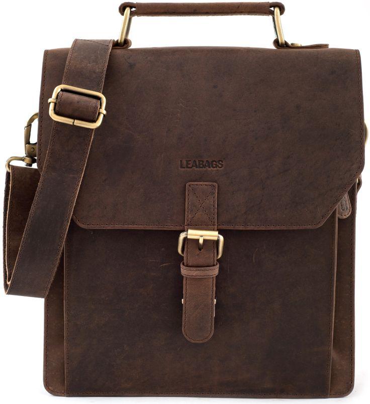 "LEABAGS - Briefcase ""EDINBURGH"" 30x27x10 cm Retro Vintage Style Genuine Buffalo Leather Unisex Satchel Messenger College Office Laptop Bag: Amazon.co.uk: Clothing"