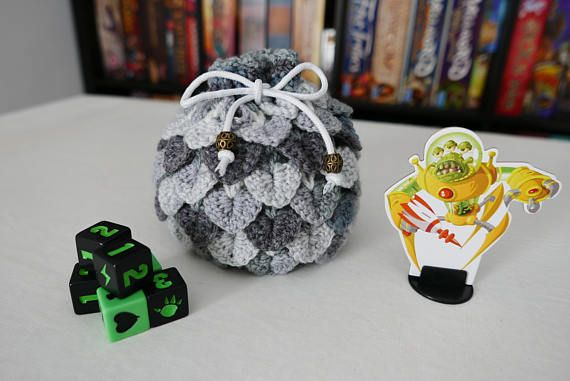 Hey, I found this really awesome Etsy listing at https://www.etsy.com/listing/521242482/dice-bag-crochet-dragon-scale-white-and