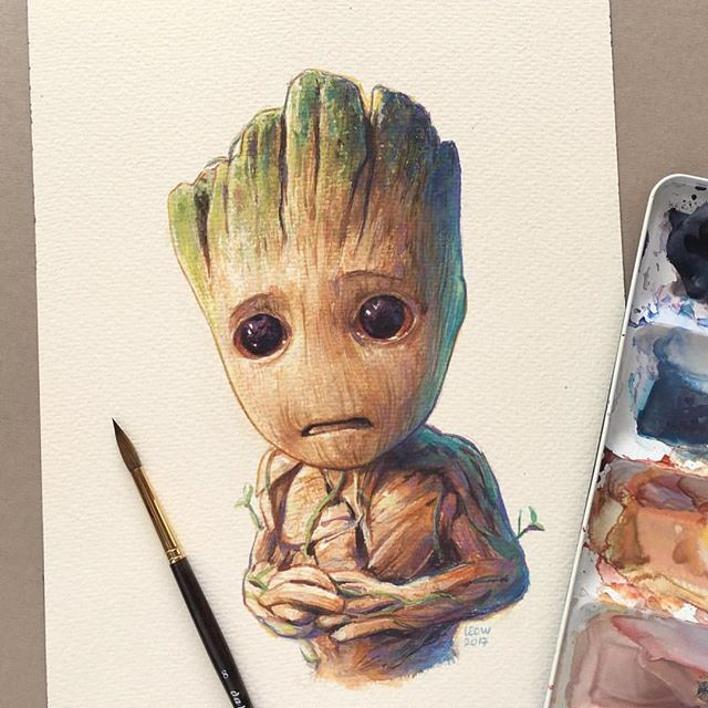 Baby Groot  By @leowdrawingclass   _  #arts_help