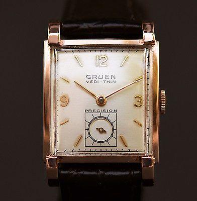 14K SOLID GOLD 1949 Vintage GRUEN Veri-Thin 430 17J SWISS DRESS WATCH  MEN