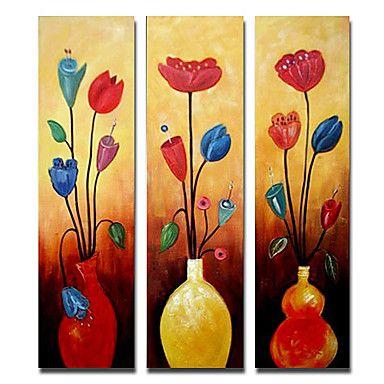 Handgeschilderde Bloemenmotief/Botanisch Drie panelen Canvas Hang-geschilderd olieverfschilderij For Huisdecoratie 356535 2016 – €80.35