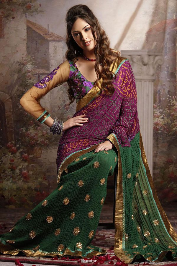 Samantha bandhani green and purple-based printed saree with a crushed skirt gold sequins enbroirdery.