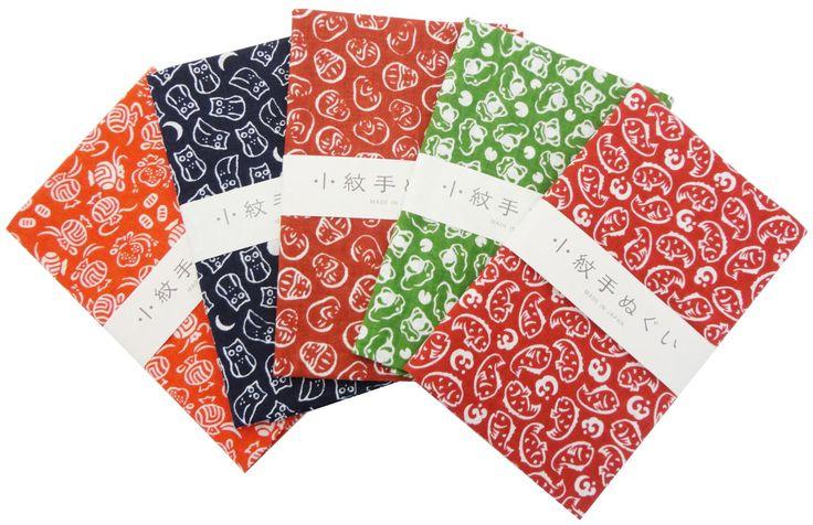"Japanese Traditional Towel ""Tenugui"" Small Pattern 5 type set Auspicious patterns"