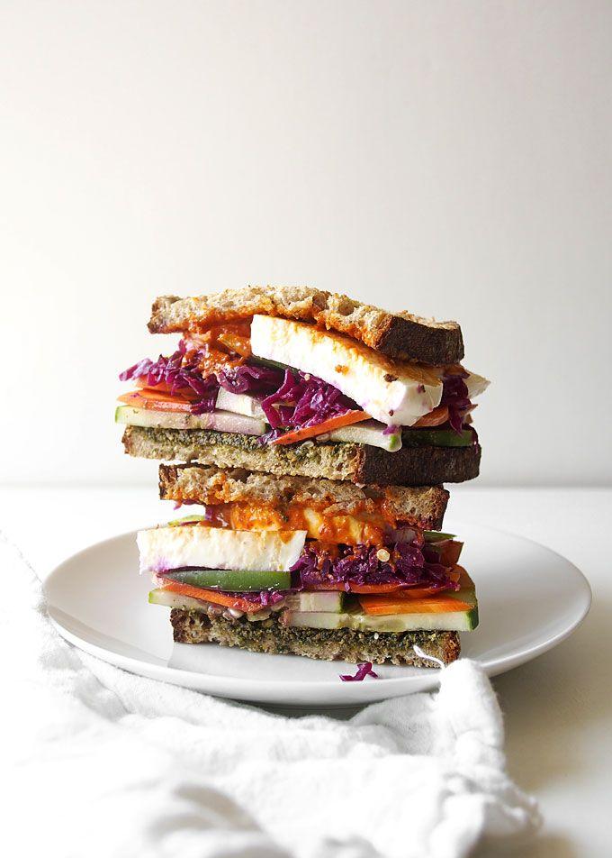 Pesto Mozzarella Sauerkraut Veggie Sandwich | thekitchenpaper.com