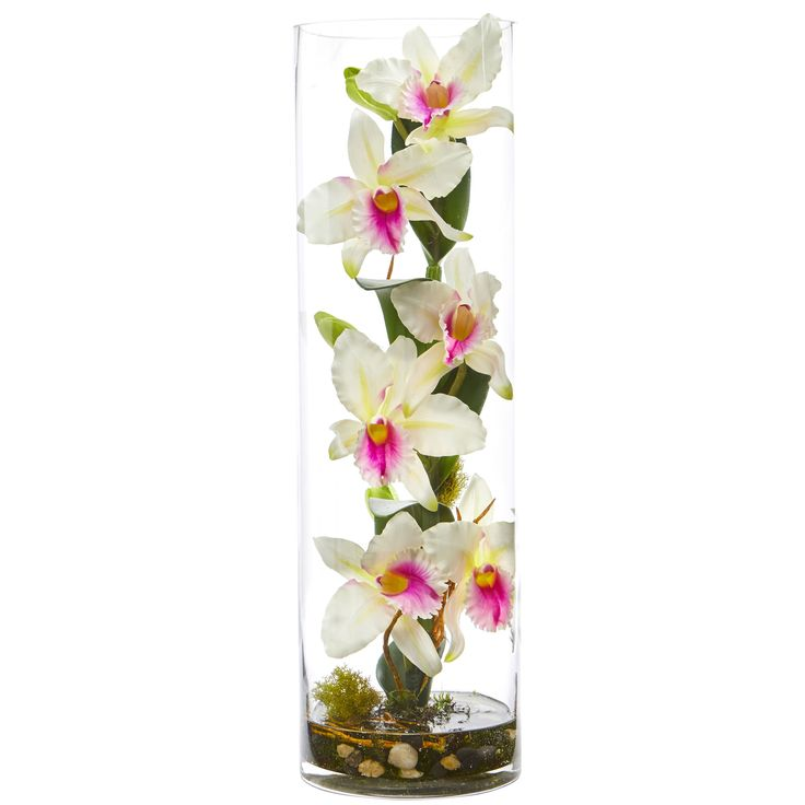 Delicate, realistic artificial orchid flowers bloom from the natural-looking stem, all enclosed in a glass cylinder with faux water. Made to realistic through painstaking attention to detail, this artificial catleya orchid arrangement can add glamour to a bathroom vanity. Include a scented oil warmer or a bowl of potpourri and candles for a complete look.