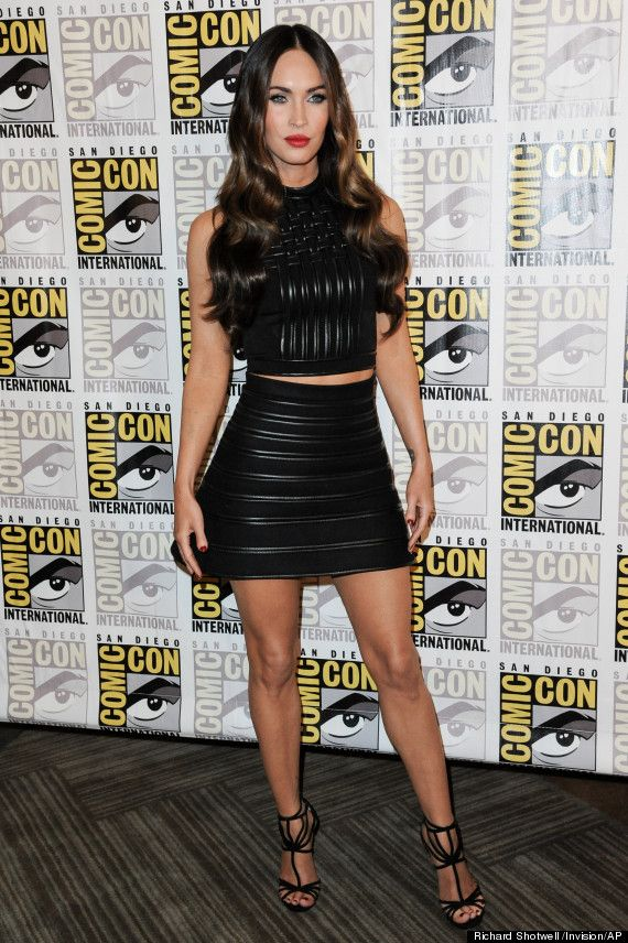Megan Fox 2014 Comic-Con ~ sexy and fierce, sculpted black leather separates and Jimmy Choos.