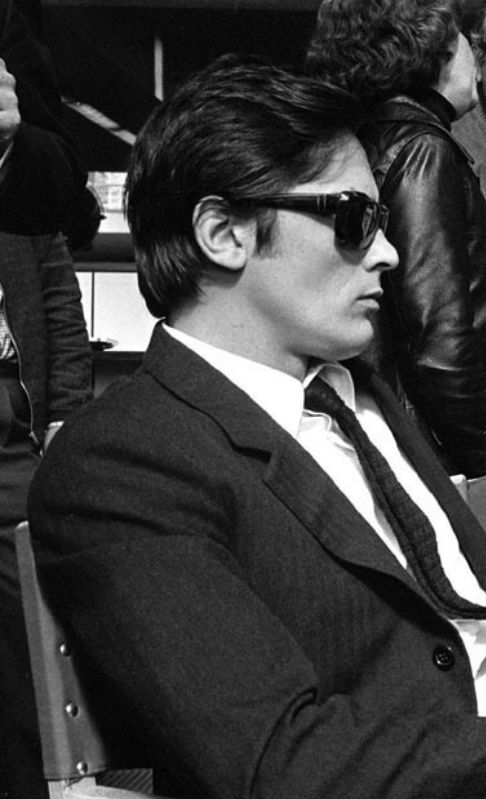 """Alain Delon on the set of """" Le clan des Siciliens"""" (The Sicilian Clan),directed by Henri Verneuil - 1969"""