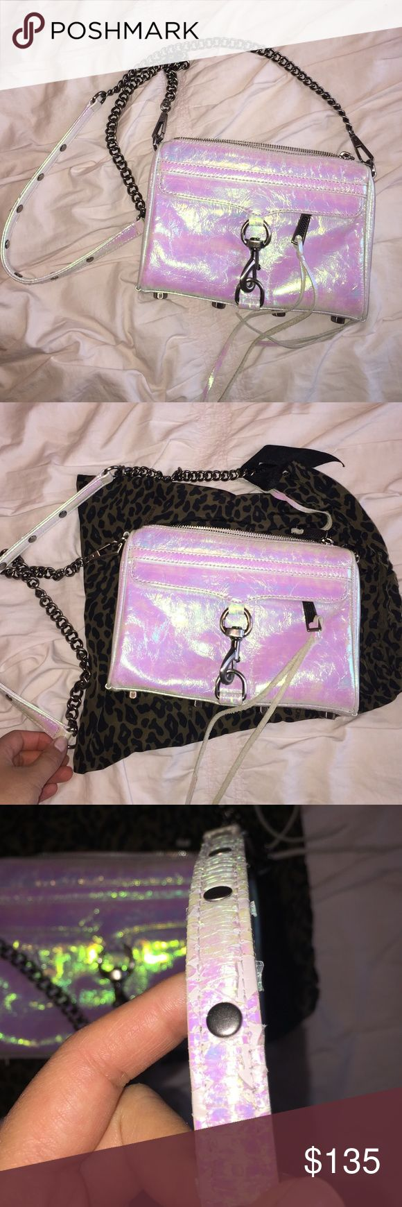Rebecca Minkoff mini Mac shoulder bag in 🦄 color A rare piece! Perfect for summer. I've only wore it few time, however the hologram color is peeling a little on the shoulder strap, but nothing noticeable. The color is so pretty, you can't find it anywhere! Rebecca Minkoff Bags Shoulder Bags