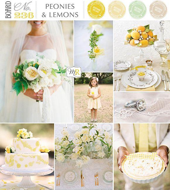 BoardNo236: Peonies  Lemons #weddinginspiration #yellowwedding