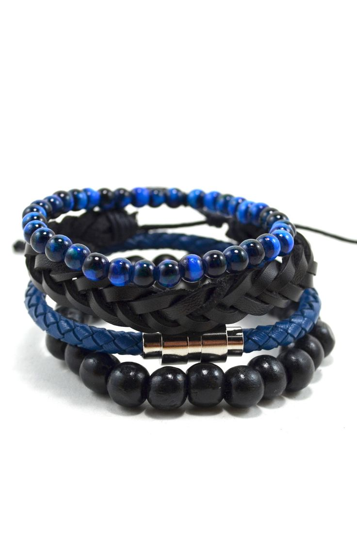 4 Pack Leather/Wood in Blue and Black