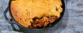 Cornbread & Pulled Pork Skillet Pie by Carla Hall on The Chew.  One pot meals mean one pot clean up! Try it with this delicious skillet pie!