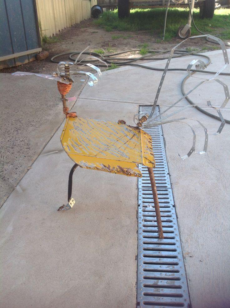 "Recycled metal bird - ""Nat Nat"" bird - made by Fiona verhagen"