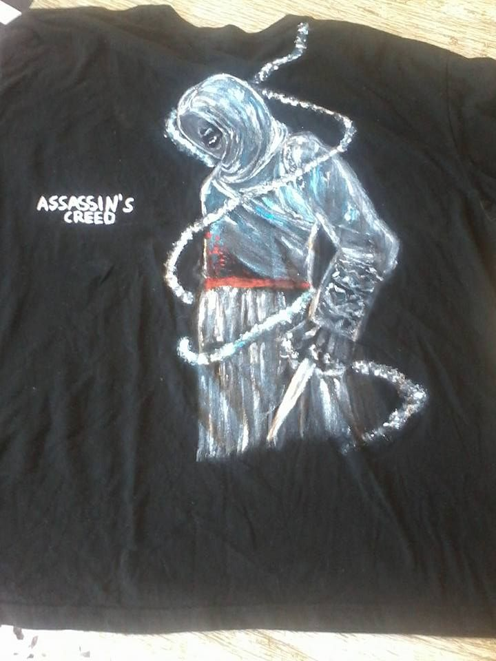 handpainted assassin's creed t shirt.https://www.facebook.com/pages/Anastasias-art-gallery/334822676627889?fref=ts