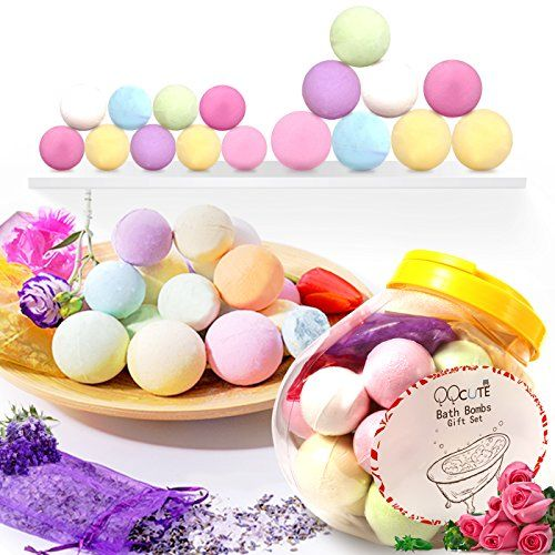 Bath Bombs Gift Set 18 Family Spa Vegan Lush Fizzies with Natural Essential Oils3 Flower Pental Bags Moisturize Dry SkinAdd to Bubble BathBasketBath Beads