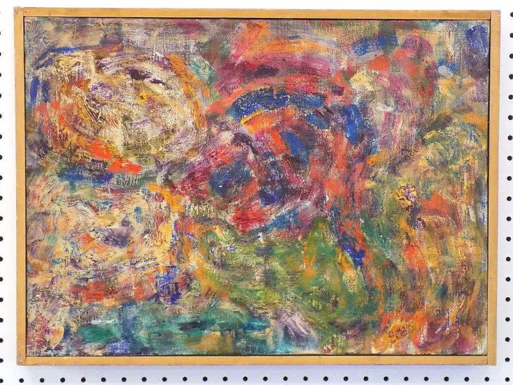 Lot: SIDNEY E. ZIMMERMAN - MIDCENTURY GYROS PAINTING, Lot Number: 3503, Starting Bid: $200, Auctioneer: Great Estates Auctioneers & Appraisers, Auction: BEST FINE ART ANTIQUES MODERN & ORIENTAL, Date: June 14th, 2015 EDT