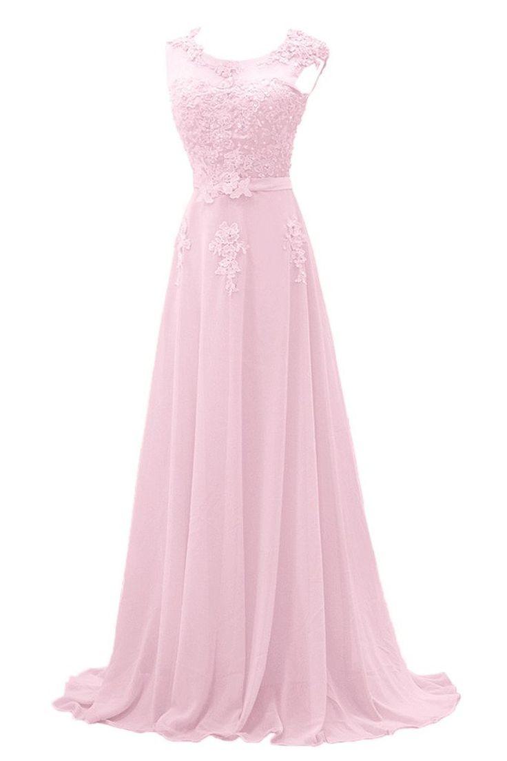 Gorgeous Bride Modisch Lang Rundkragen A-Linie Chiffon Tuell Spitze Schleppe Abendkleider Festkleider Ballkleider -42 Bildfarbe