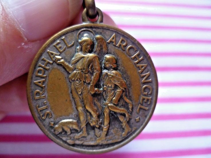 Old Italian brass watch fob/ keyring medal St Raphael Archangel, St Christopher