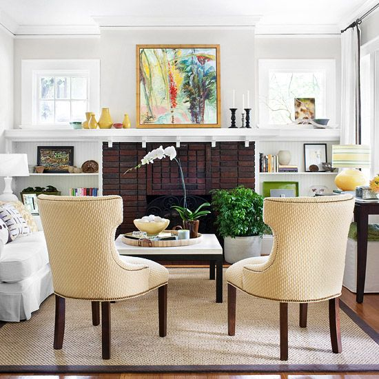 bhg: Rooms Layout, Decor Ideas, Built In, Color, Brick Fireplaces, Smart Style, Accent Chairs, Families Rooms, Living Rooms Ideas
