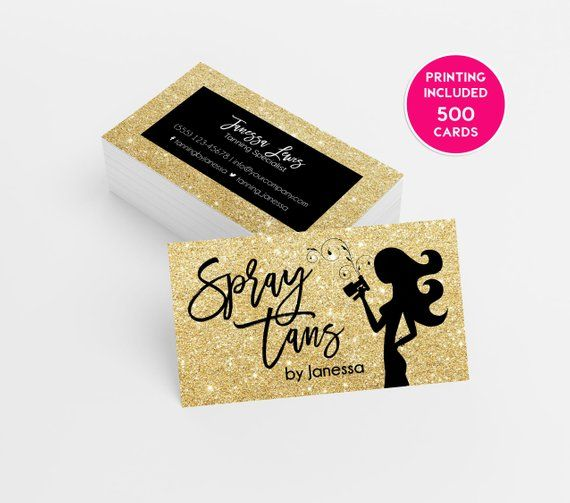 Gold Glitter Spray Tanning Business Card Design 500 Printed Business Cards Template Personalized Tan Spray Tan Business Spray Tan Business Cards Spray Tanning