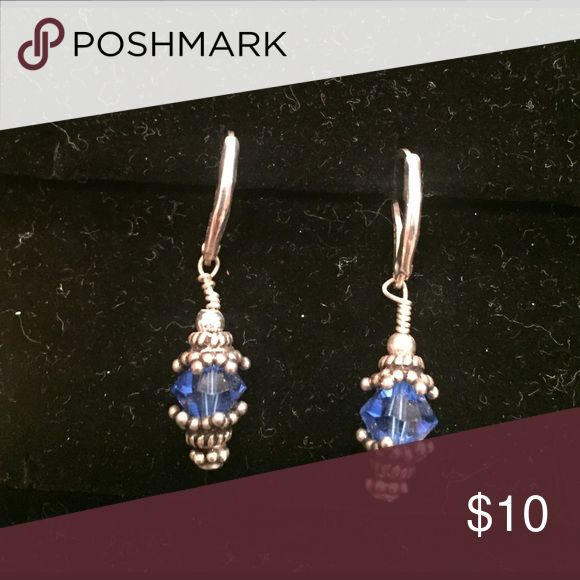 Earrings Sterling silver with 6mm blue Swarovski crystals and Bali bead earrings. To clean just use silver cleaning cloth, these earrings have never been worn. Jewelry Earrings