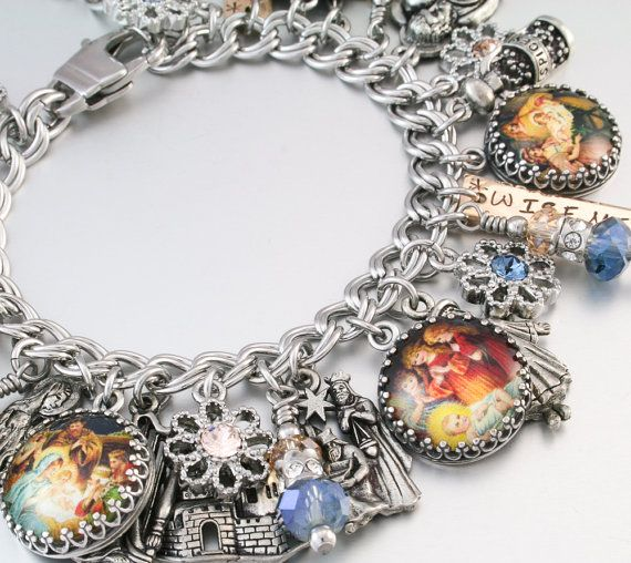 Religious Charm Bracelet: Nativity Christmas Jewelry, Religious Jewelry, Nativity