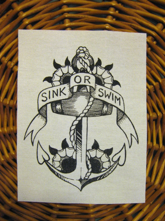Sink or Swim Sailor Jerry style Anchor original drawing handmade screen printed patch, black on natural