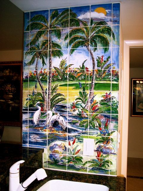 17 best images about hand painted golf tile murals on for Artwork on tile ceramic mural