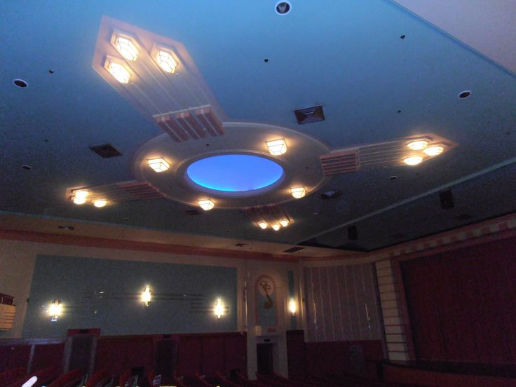 Inside the theatre. The middle light constantly changes colour