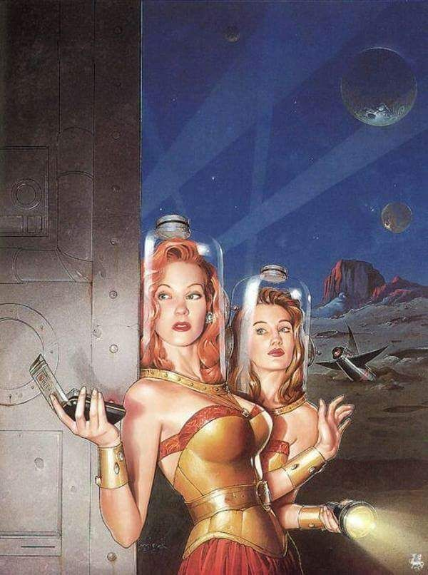 "Cover art by Michael Koelsch for ""Women of Wonder, the Classic Years: Science Fiction by Women from the 1940s to the 1970s"", by Pamela Sargent (1995)."