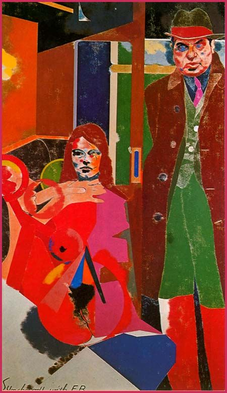 "Kitaj : "" Synchrony with F.B. "",1968/69, oil/canvas."